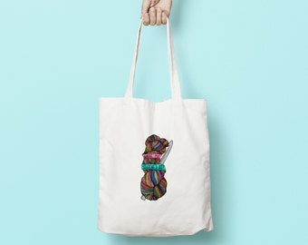Where My Stitches At Tote Bag: funny eco friendly WIP shopper bag with skein illustration. Useful & fun gift for crafters and crochet lovers
