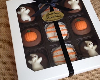 9 Piece White Gift Box of Assorted Chocolate Halloween Oreo Cookies Pumpkin Ghost Candy