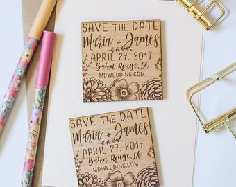 Custom Save the Date Wood Magnet, Wooden Save the Dates, Wedding Favor Magnets, Custom Wedding Floral Invitation, Wood Slice Magnet