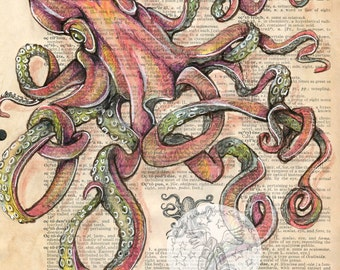 PRINT:  Octopus Mixed Media Drawing on Antique Dictionary Page