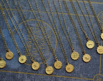 Zodiac Sign Necklace, Zodiac Necklace, Astrology Necklace, Gypsy Jewelry, Astrology Jewelry, Zodiac Jewelry, Birthday Jewelry