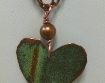 Bangor Public Library Copper Roof Heart Necklace With Copper Bead Limited Edition RM