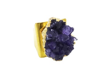 Druzy Ring Gold - Amethyst Ring Gold - Amethyst Cluster - Statement Ring