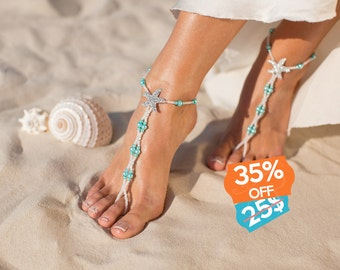 Maldives Beach wedding barefoot sandals Bridal foot jewelry Starfish barefoot sandals Bridal shoes Footless sandals Something Blue Anklet