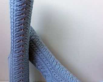 Hand knitted wool lace socks, Light Blue socks, Bed socks