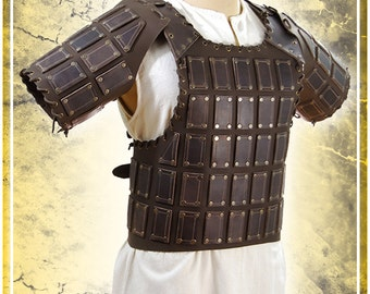 Bohemond's breastplate with sleeves - LARP Brown leather armor