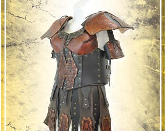 Leather Valkyrie's armor with skirt and shoulders