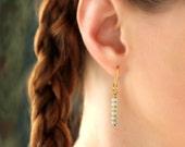 Semi Precious Gemstone Earrings, Amazonite Jewelry, Ombre Earrings, Gemstone Jewelry Gold