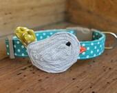 Bird Dog Collar - Teal Dot with Light Grey Bird, Maize Dot Tail and Orange Pin Dot Beak