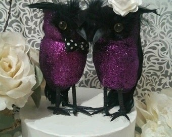 BIG SALE NEW 2016! wedding cake romantic purple and black owls wedding  cake topper