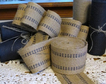 "Jute Webbing ""Navy Blue"" -By the Yard- 2.5 inch Upholstery Webbing, Rustic Jute Trim"