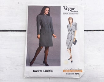 80's Ralph Lauren Vogue 1979 American Designer Pattern Misses' Double Breasted Dress - Size 12 Bust 34 FF