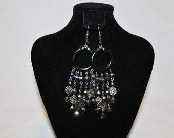 1980s Gothic Gypsy Rainbow Beaded AB Chandelier Earrings