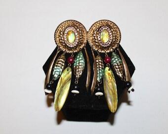 1980s Beaded Gypsy Mother of Pearl Dangle Earrings