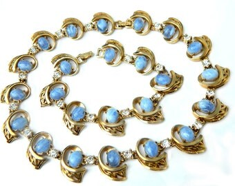 Mid Century Necklace Bracelet Blue Vintage Collectible Jewelry Set For Women Glass Rhinestone Blue Wedding Jewelry