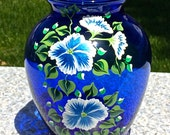 Hand Painted Blue Vase With Blue and White Flowers, Gifts For Her, Hand Painted Vase, Wedding Shower Gift, Housewarming Gift, Home Decor