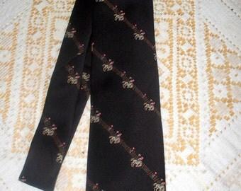 1960s Western Art Tie  - Bucking Bronco - Polyester - Denver