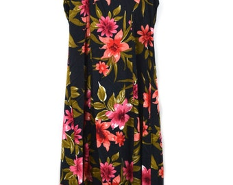 Hawaiian Dress Floral Print Dress Cut Out Dress Boho Dress Hippy Dress Maxi Dress Size Small