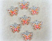 Butterfly Charms - Orange Enamel and Rhinestone Butterfly Charm - Silver and Orange Butterfly Charms - Qty. 4