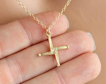 Saint Brigids Cross Necklace Irish Celtic Crosses Gold Filled Women Girls Jewelry Catholic High Quality Gift