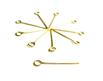 SALE Gold Vermeil Eye Pin 20 mm 24 gauge Loop Head Pin 25 pcs