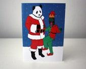 Dinosaur Christmas Card panda christmas card raptor Jurassic park  Christmas Card