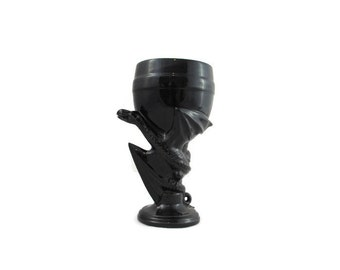 All Black Ceramic Dragon Goblet or Glass - 8 inches - hand painted fantasy goblet or wine glass, medieval