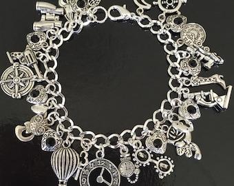 Steampunk charm bracelet, steampunk punk, kraken, Victorian, cosplay, science