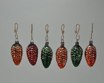 Six Vintage German Christmas Ornaments. Pinecones. Mercury Glass. Set of 6. Christmas. German. Germany.  1026