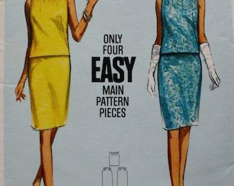 Two Piece Dress Vintage Sewing Pattern Butterick 4301 Bust 34 UNCUT 60s Blouse Skirt