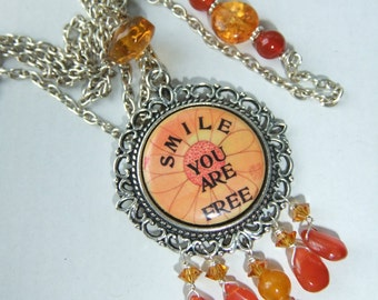 Women's Jewelry, Word Inspiration, Long Boho Mandala Necklace With Tears Of Carnelian and Crystals