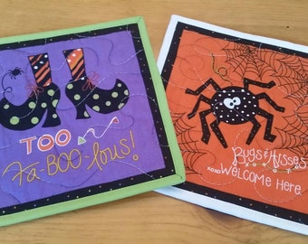 Halloween Mug Rugs, Set of 2 Snack Mats, Candle Mats, Mini Placemats, Trivets, Potholders, Spider, Witch Shoes, FaBOOlous, Bugs and Kisses