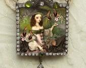Glass Slide Pendant, Soldered Glass Pendant, Soldered Jewelry Pendant, Fantasy Lady 1