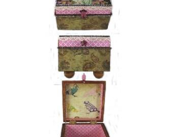 Keepsake Box, Embellished Box, Trinket Box, Decorated  Box,  Fantasy Lady Two