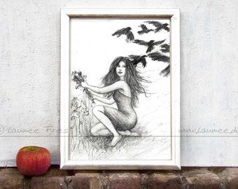 RAVEN. Fine Art Giclee Print of a Pencil Drawing by Laumee. Fairy Tale Illustration. Black and white. Wall Art. Woman and Raven. Home Decor