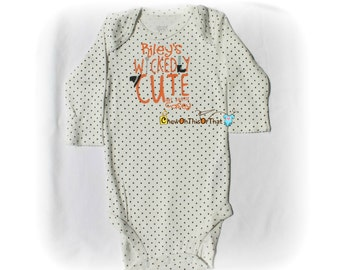Wickedly Cute Like My Auntie Baby's First Halloween Statement Onesie Costume - Auntie and Niece Personalized Baby Name Bodysuit, Top, Outfit