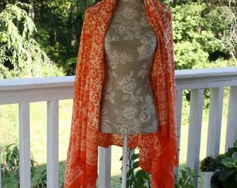 Vintage Wrap Shawl Royal Hawaiian Creations Rayon Orange White Large Fall Evening Womens Clothing