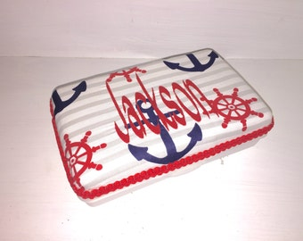 Personalized Pencil Box in Blue, White, Red & Grey Nautical Anchor Print.  Boys Pencil Case.  Nautical Large Wipes Case