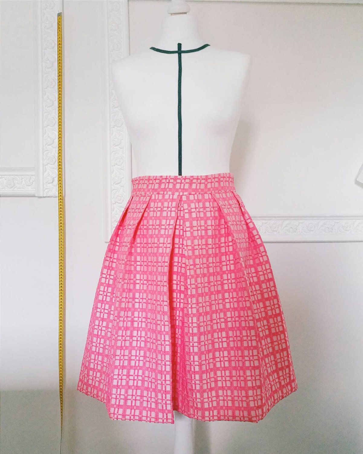PINK PLEATED SKIRT, bridesmaid pleated skirt with pockets, 1950s ...