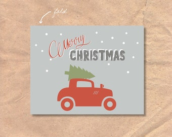 Instant Download Merry Christmas Card: Vintage Car and Tree