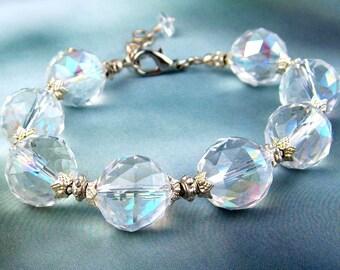 Crystal Beads Bracelet, Faceted AB Glass, Silver Toned Beads, Aurora Borealis, Wedding Bracelet, Adjustable, Pastel Rainbow Tones, Handmade