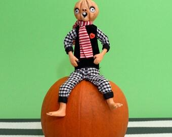 OOAK Quirky Pumpkin Handmade Doll  Halloween - By Doll Artist Cheryl Austin