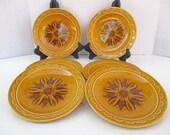 Homer Laughlin Granada Golden Harvest Pattern - Salad Plates - Set of 5