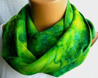 Bright Green and Yellow Flat Crepe Silk Scarf. 11x60 inch Silky Soft Accessory Scarf Lemon Lime Emerald Kiwi Citrus Hand Dyed Scarves.