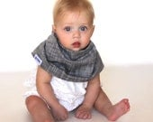 "Modern Bib (Gray Linen) All in One Scarf & Bib ""Scabib for babies or toddlers"
