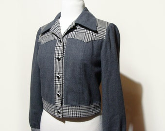 60's Wool Jacket Western Style Tweed