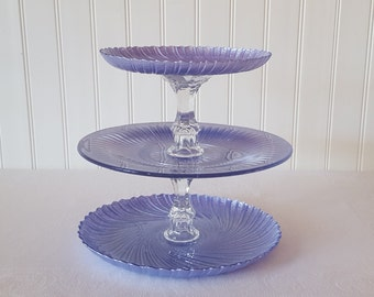 Periwinkle 3 tier cupcake stand / cake stand / dessert tower / Made to Order / Wedding cupcake tower / Baby shower / Custom Color
