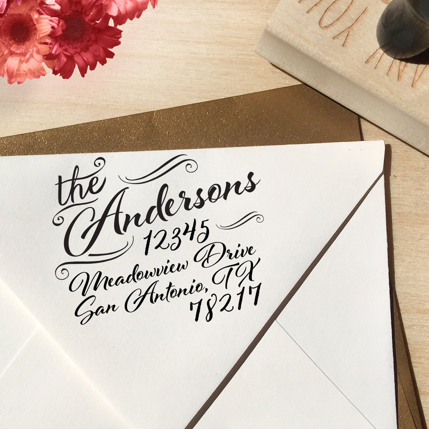 Flourish Calligraphy Return Address Stamp