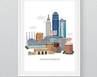 Kansas City Art Print - Collage Illustration Art Print Poster