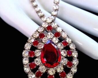 Red Rhinestone Necklace Vintage
